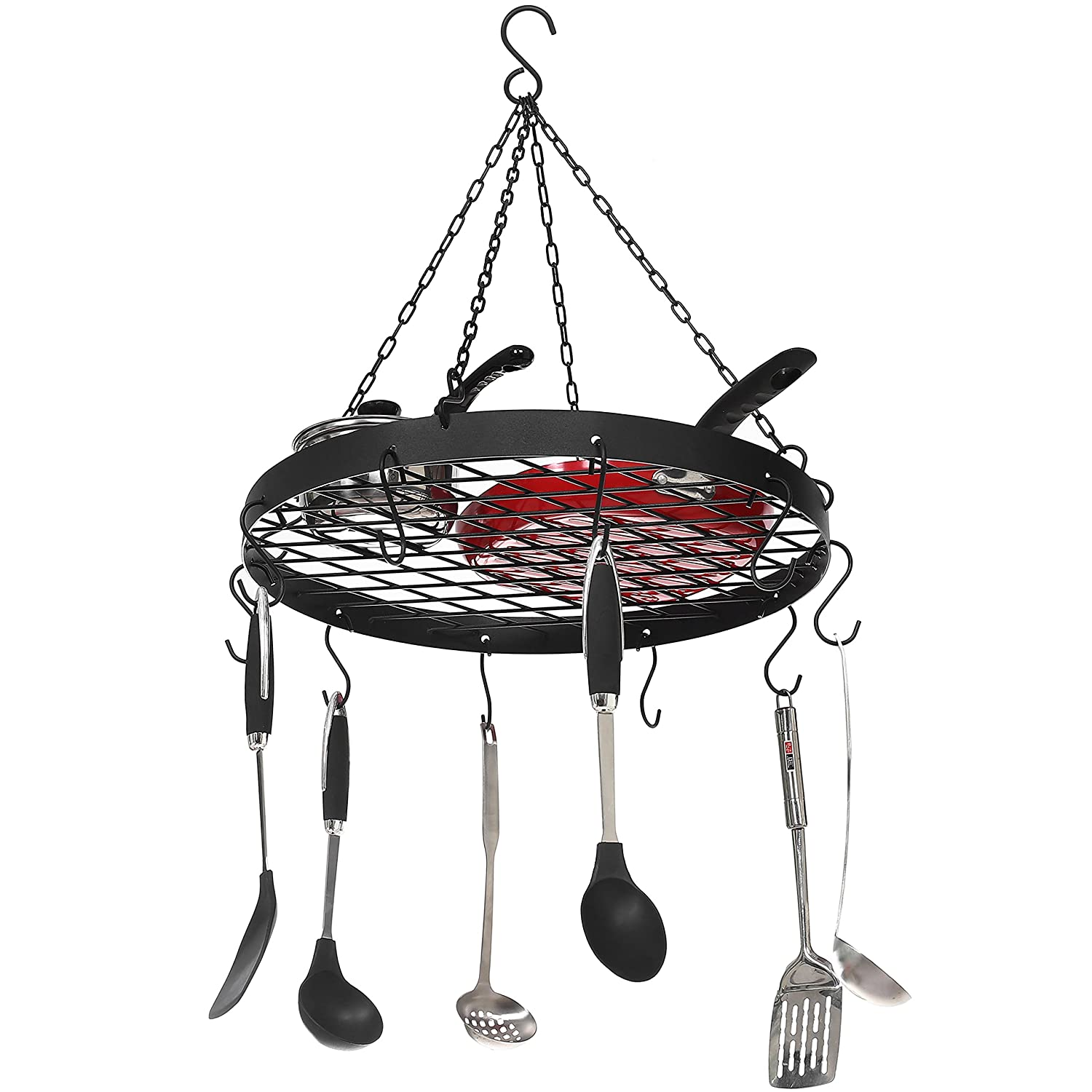 MyGift SHOMHNK004 Pans /& Utensils Rack w//Hanging 10 S-Hooks and Wire Grate Shelf Black Metal Ceiling-Mounted Round Pots