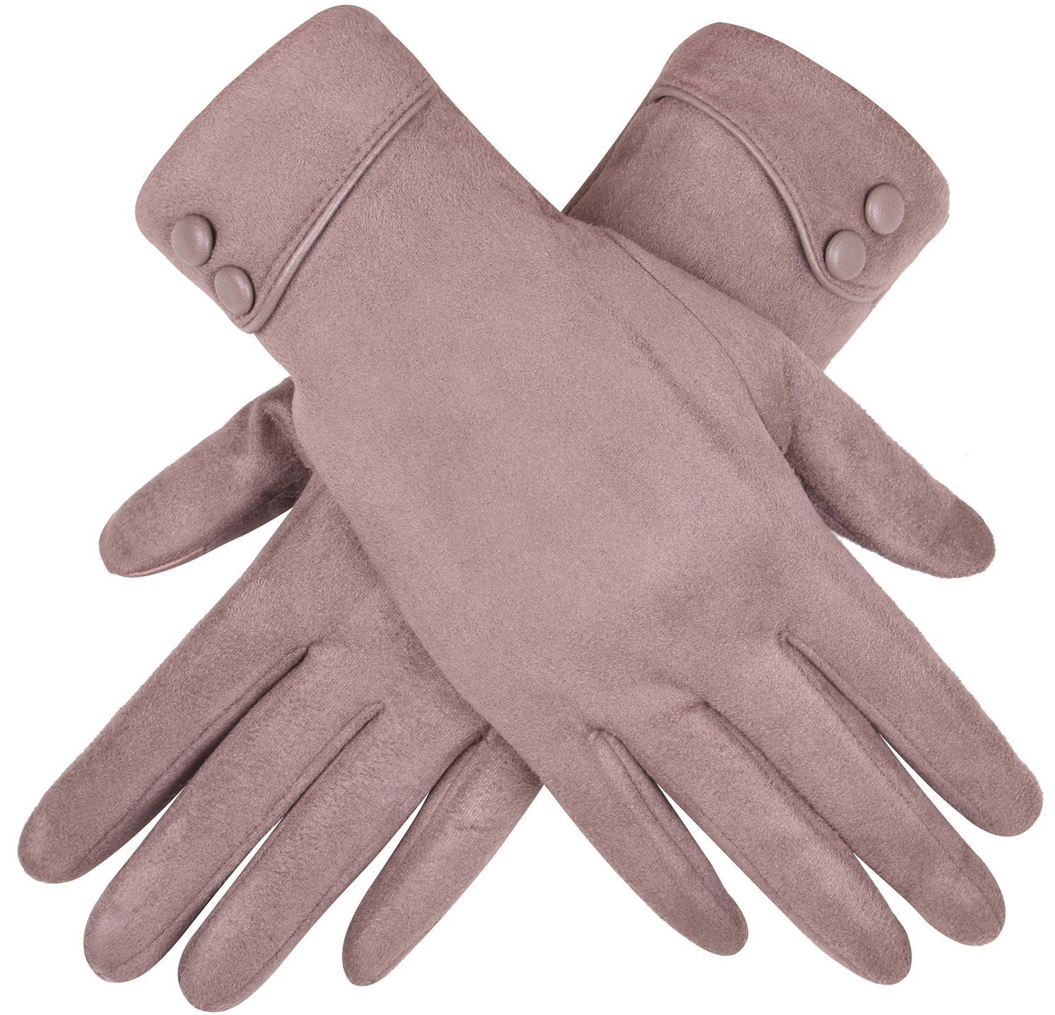 WDSKY Women's Winter Warm Touch Screen Gloves Cuffed with Buttons Khaki