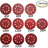 M-jump 100 pcs 5-Inch 8-Hole Dustless Hook-and-Loop Sanding Disc Sander Paper, Pack of 100 (10 Each of 40 60 80 100 120 150 180 240 320 and 400 Grits)