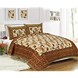 Pure Cotton Bedsheets with Pillow Cover for Double Bed, Rajasthani Bedsheets Double Bed Pillow Covers 220 TTC (Saffron-3)