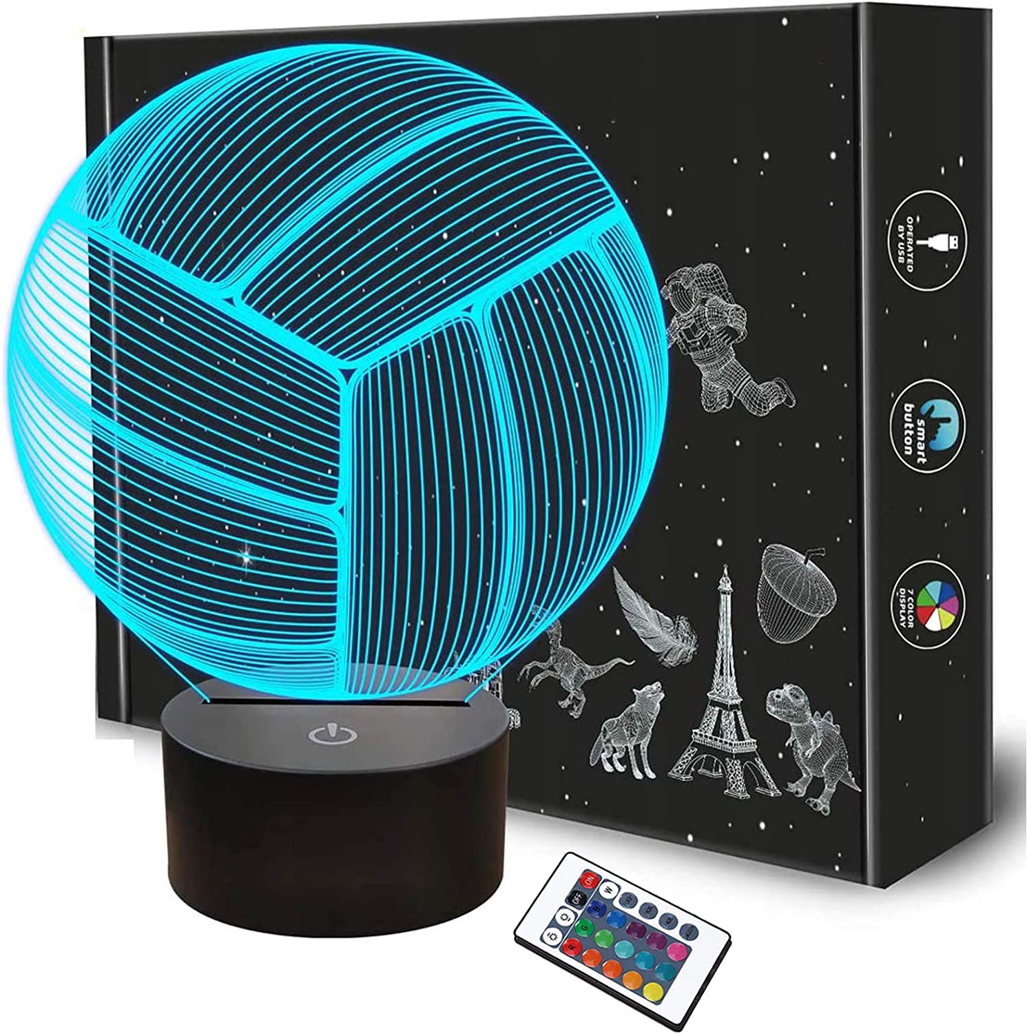 Volleyball 3D Night Light, Sport Mood Illusion Lamp for Kids with Remote Control 16 Colors Changing, Creative Birthday Beach Volleyball Coach Lover Gifts for Boys Bedroom Decoration