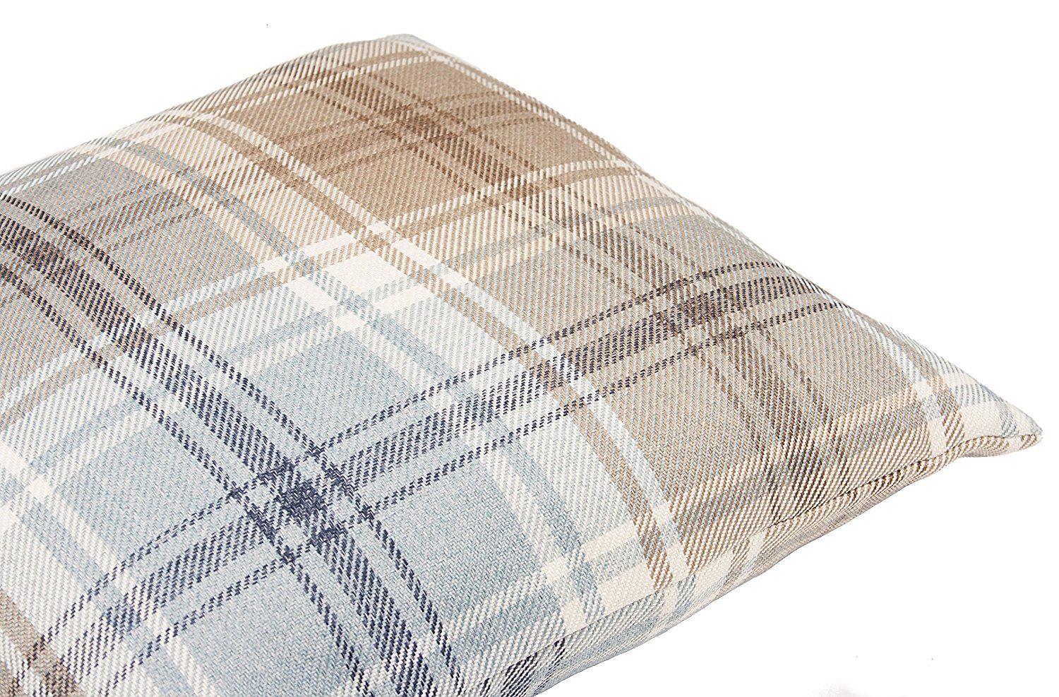 Decorative Striped Woven Cushion Sham Case for Sofa and Bedroom Country Cabin Accent Decor Square 26 x 26 in Tartan Plaid Throw Pillow Cover in Duck Egg Blue McAlister Textiles Angus