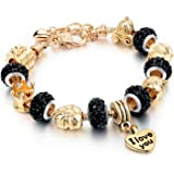 "Long Way Gold Plated Snake Chain Glass Beads ""I Love You"" Charm Beaded Bracelets for Women"