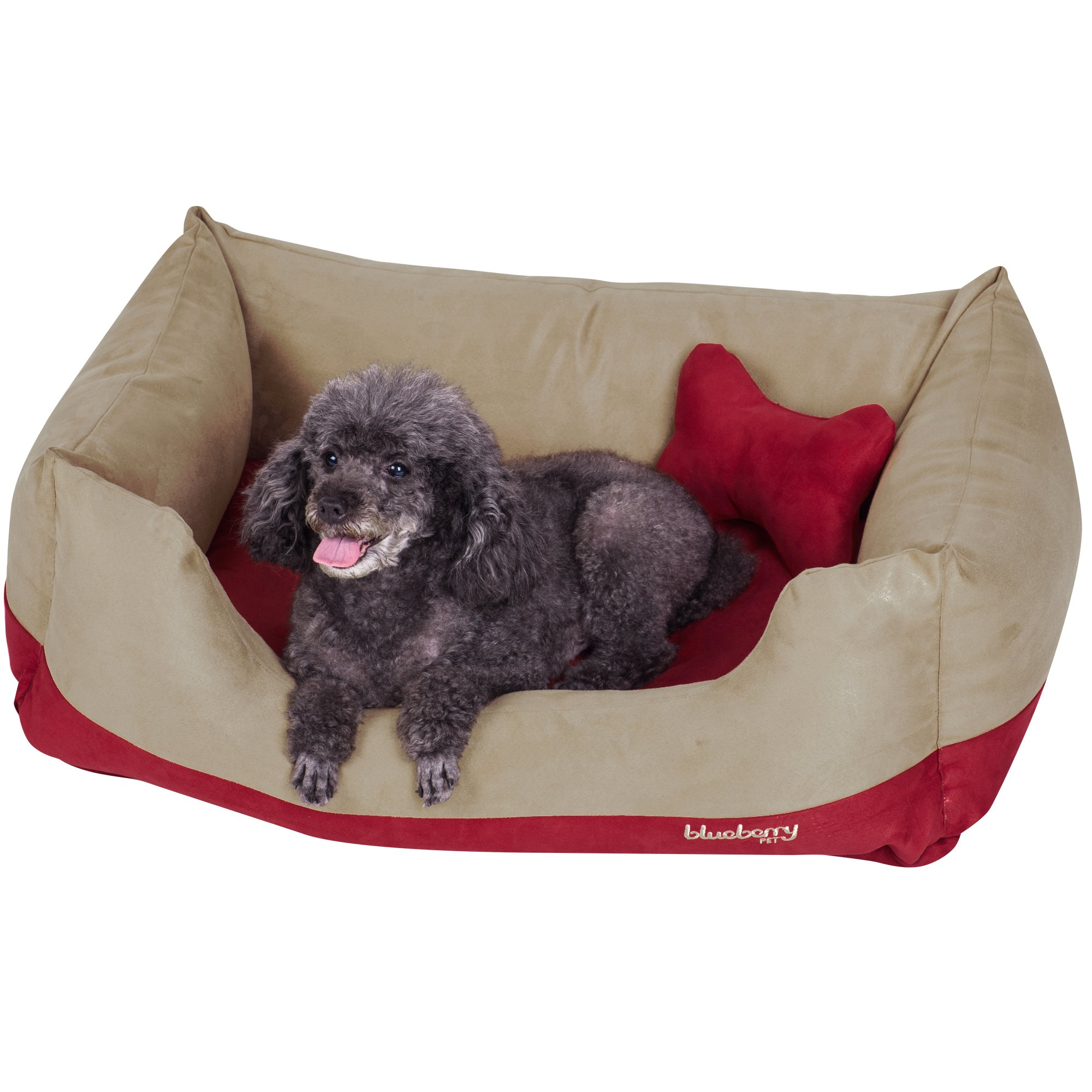 Blueberry Pet Heavy Duty Microsuede Overstuffed Bolster Lounge Dog Bed, Removable & Washable Cover w/YKK Zippers, 34'' x 24'' x 12'', 11 Lbs, Beige and Red Color-Block Beds for Cats & Dogs