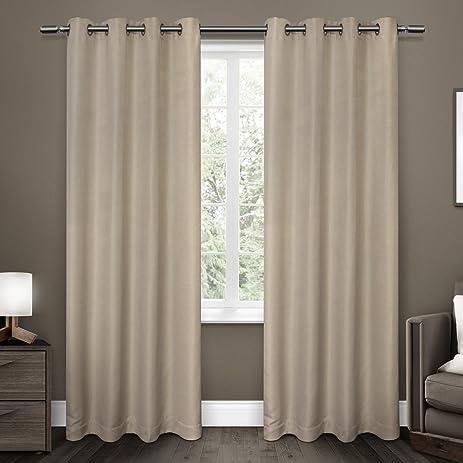 exclusive home curtains melrose blackout grommet top window curtain panel pair linen 52x84