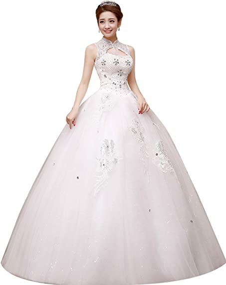 Clover Bridal Vintage Lace High Neck Beaded Ball Gown Wedding Dress ...