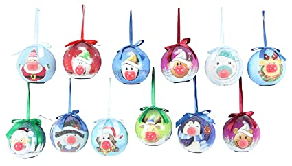 blinking light up animated christmas ornaments set of 12 assorted 325 inch - Animated Christmas Ornaments