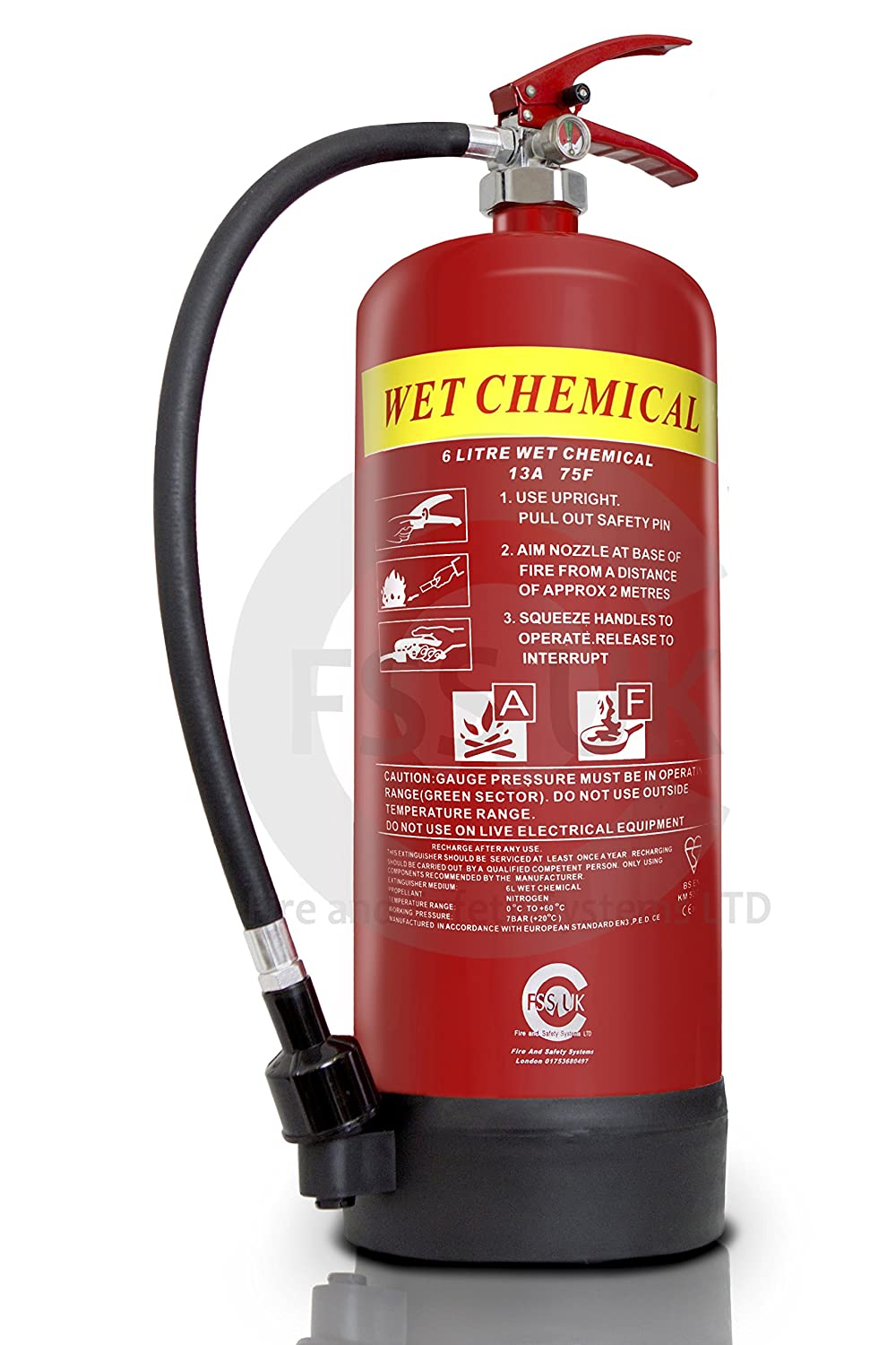 FSS UK PREMIUM 6 LITRE WET CHEMICAL FIRE EXTINGUISHER. IDEAL FOR COMMERCIAL KITCHEN, RESTAURANTS PUBS BARS COOKING FIRES. 6 L LTR WET CHEM