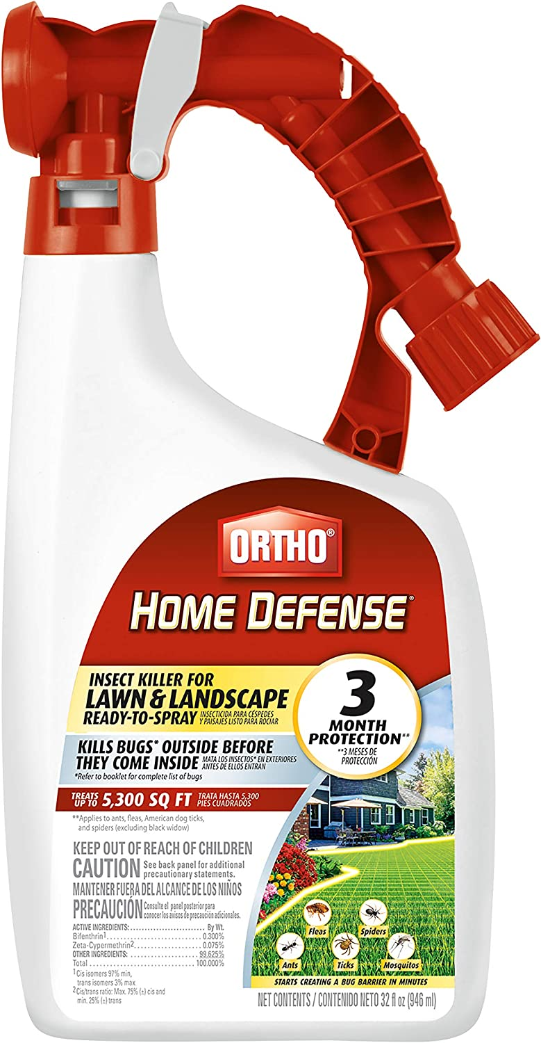 Ortho Home Defense Insect Killer for Lawn & Landscape Ready-to-Spray - Treats up to 5,300 sq. ft, Kills Ants, Ticks, Mosquitoes, Fleas & Spiders, Starts Killing Within Minutes, 32 oz.