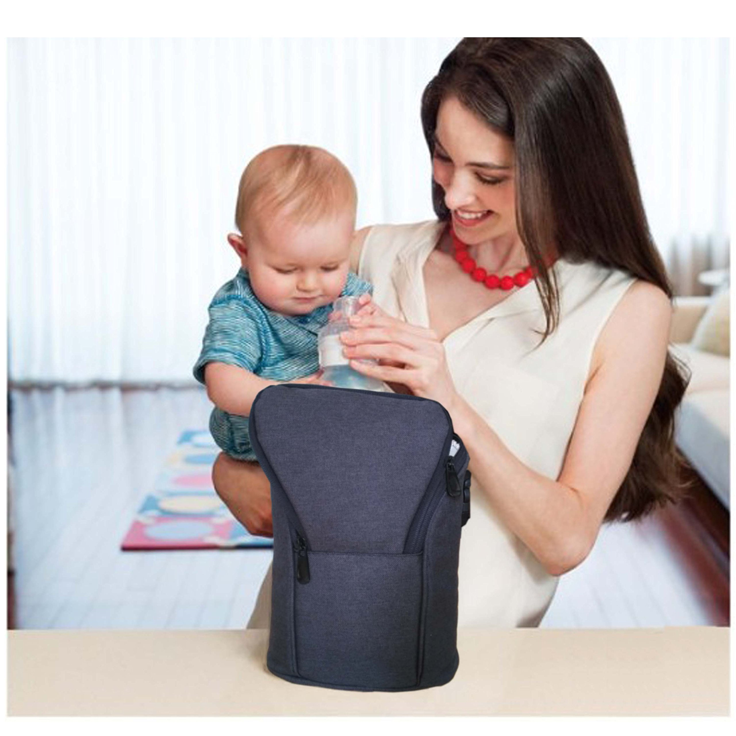 Breast Milk Baby Double Bottle Bag, Insulated Cooler Tote Keep Breast Milk Cold or Warm for Women,Men, and Kids (black) by Sanne (Image #4)
