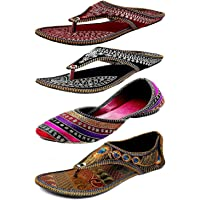 Zaiva Women And Girls Synthetic Belly And Slipper - Multicolour (Pack Of 4)