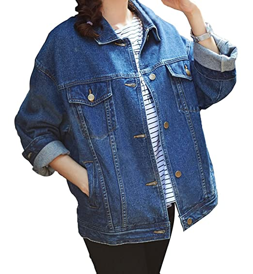 19d1486067ae Minetom Femme Printemps et Automne Veste en Jean à Manches Longues Loose BF  Style Denim Manteau