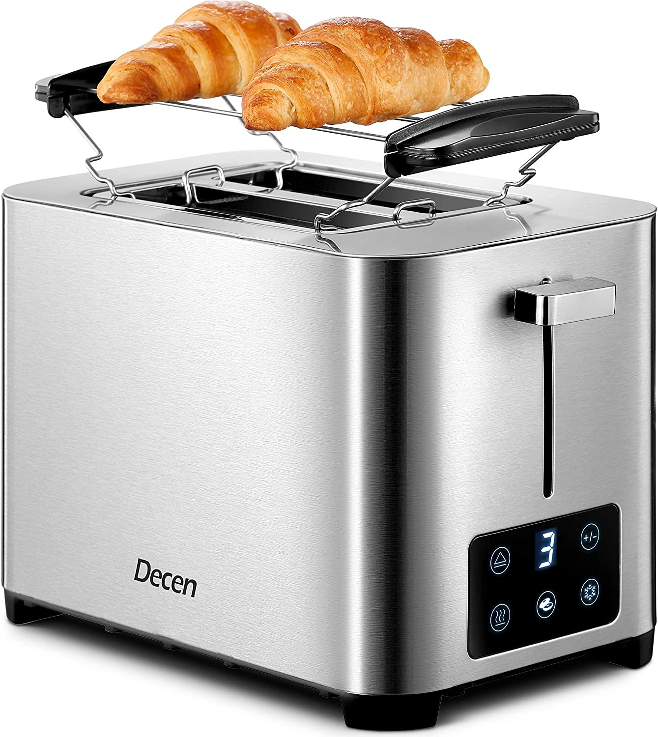 Toaster 2 Slice, DECEN Stainless Steel Toaster with Touch LCD Display (6 Toasting Settings), 2 Extra-Wide Slots, Bagel, Cancel, Defrost, and Reheat Function, Slide Out Crumb Tray, Silver