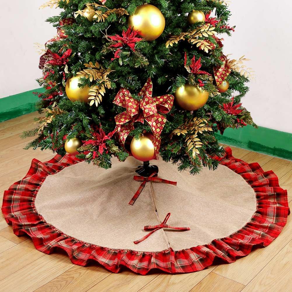 ourwarm burlap christmas tree skirt red black plaid ruffle edge border large 48 - Burlap Christmas Tree Skirt