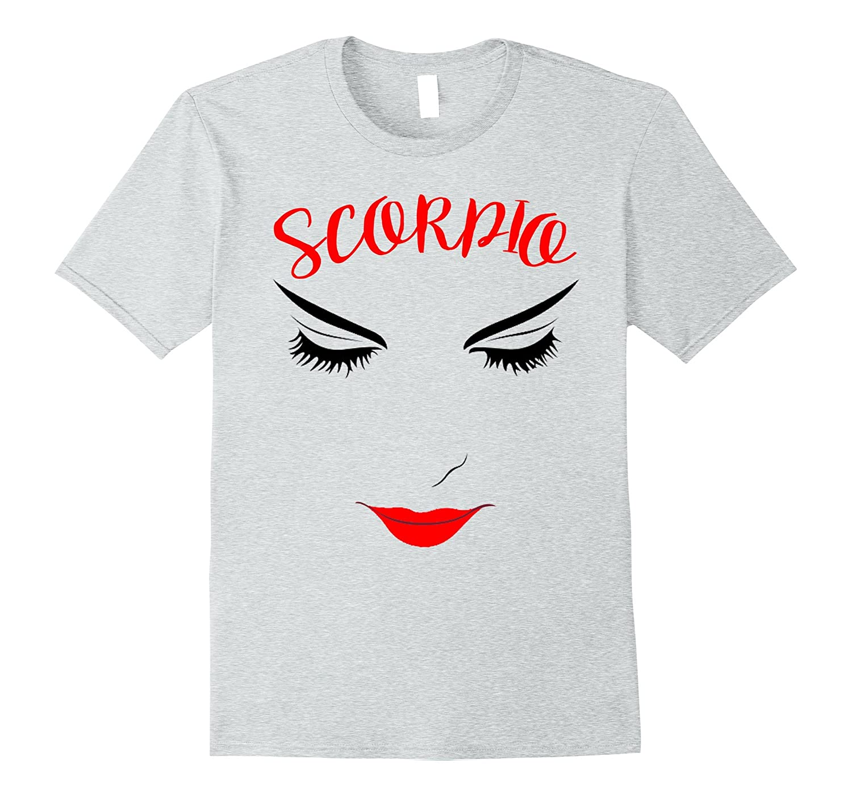 Scorpio Horoscope Zodiac Tee Women Eyelashes Red Lipstick-FL
