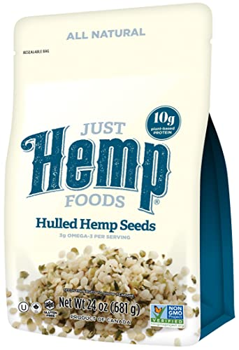 Just Hemp Foods Hemp Hearts Shelf Stable Hemp Seeds, 24oz with 10g Protein 12g Omegas per Serving, Keto, Gluten Free, Vegan, Whole 30, Paleo, Non-GMO