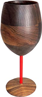 product image for Wooden Walnut Wine Glass with Red Stem