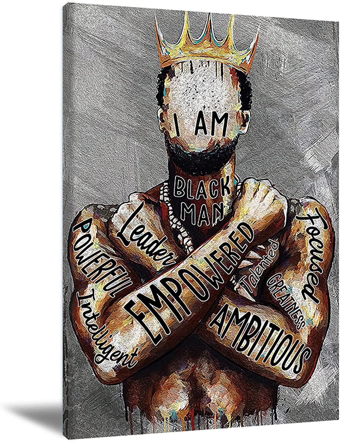Black Man Wall Art African American Man Poster Black Men I Am Empowered King Painting - Motivational Phrases Black Men Portrait Wall Art Abstract Canvas Prints Home Decor For Bedroom Living Room