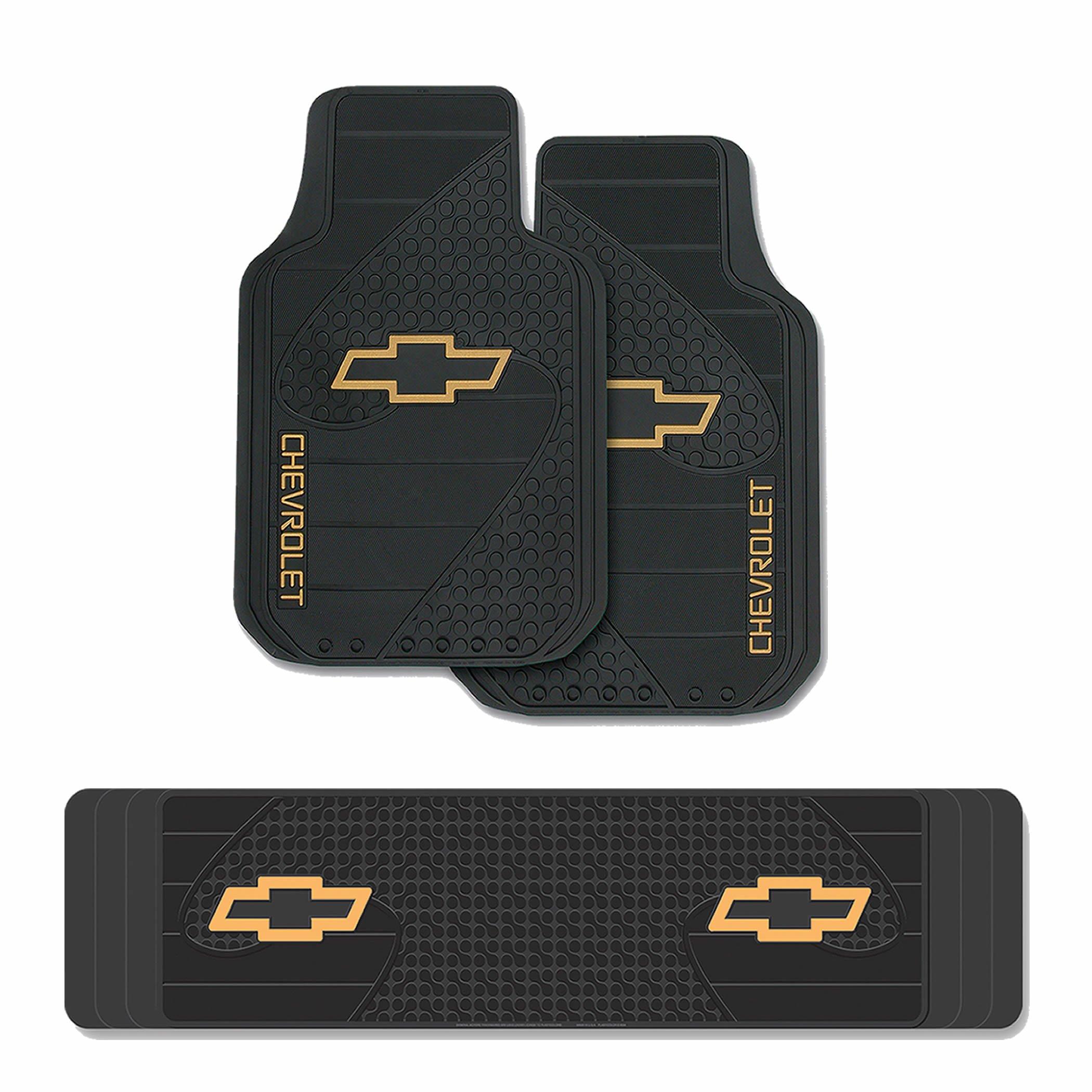 3pc Chevy Factory Black Yellow Logo Heavy Duty Front & Runner Rubber Floor Mats