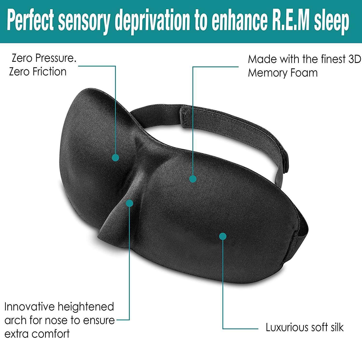 3D Memory Foam Sleep Mask With Heightened Nose Arch | Breathable Fabric & Adjustable Velcro Strap | For Men, Women, Meditation, Shift Workers & More | Bonus Travel Case & Ear Plugs