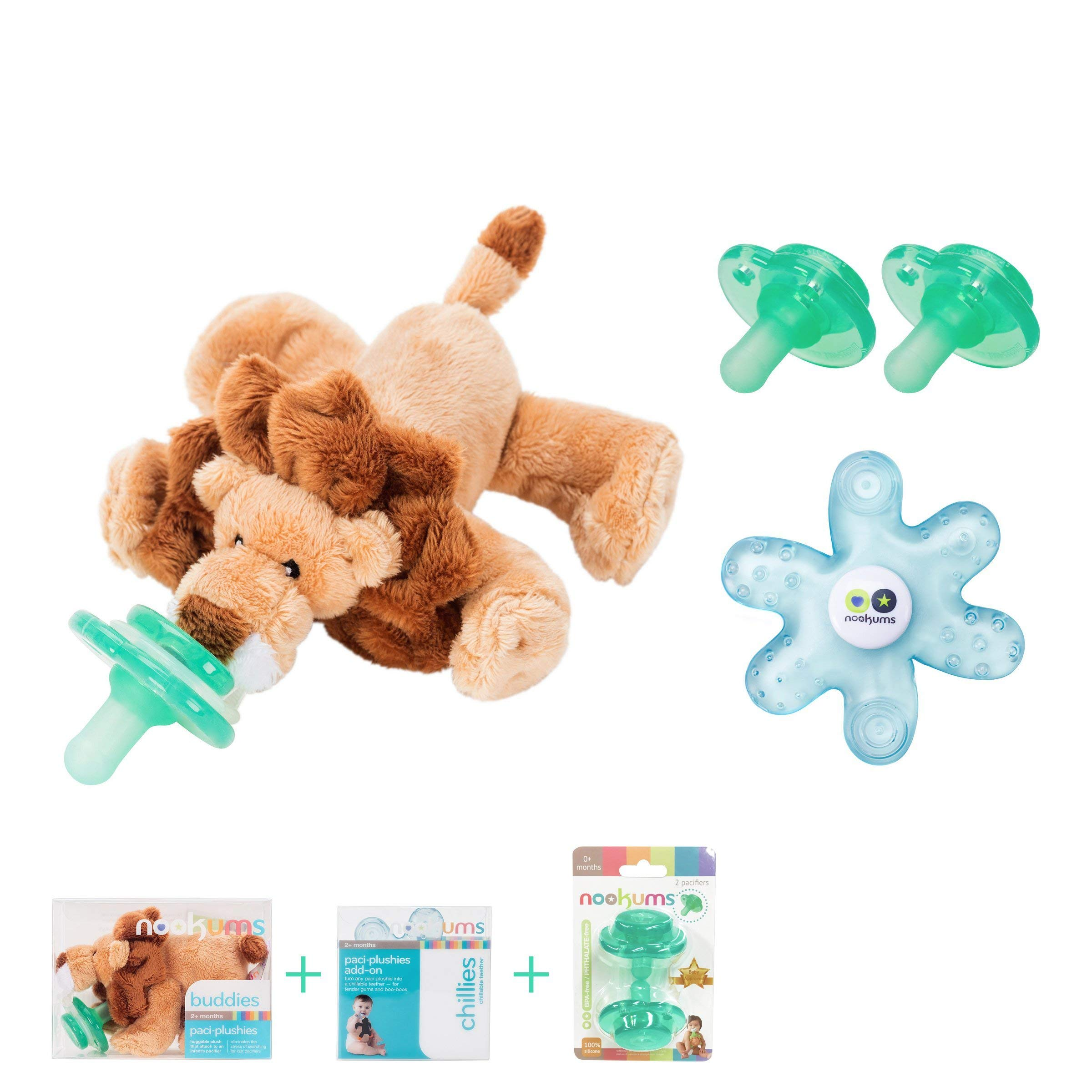 Nookums Paci-Plushies Lion Baby Gift Set - Pacifier Holder, Teether and Replacement Pacifier 2 Pack (Plush Toy Includes Detachable Pacifier, Use with Multiple Brand Name Pacifiers)