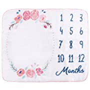 Hudson Baby Monthly Milestone Blanket, Floral, One Size