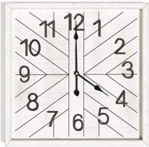Barnyard Designs Rustic Farmhouse Wall Clock for Living Room or Kitchen Decor, Large 26-inch Square Wooden Clock, Non-Ticking Silent Movement Wall Clock, Battery Operated, White