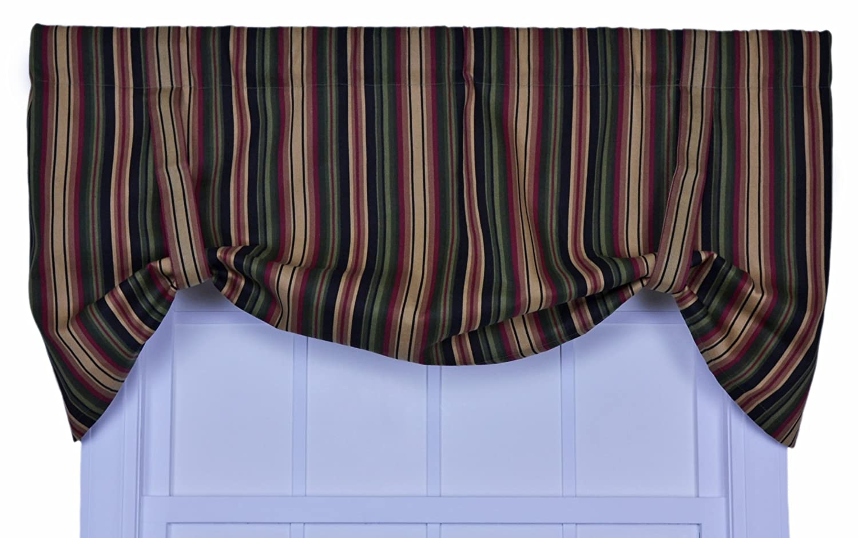 Ellis Curtain Montego Stripe Tie-Up Valance Window Curtain, Black