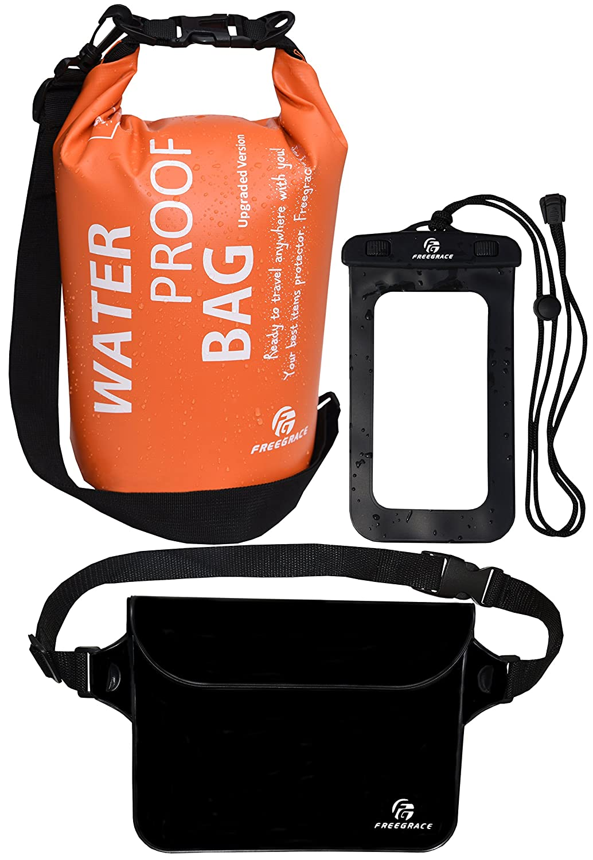 83a64c1b15c Freegrace Waterproof Dry Bags Set of 3 - Dry Bag 2 Zip Lock Seals    Detachable