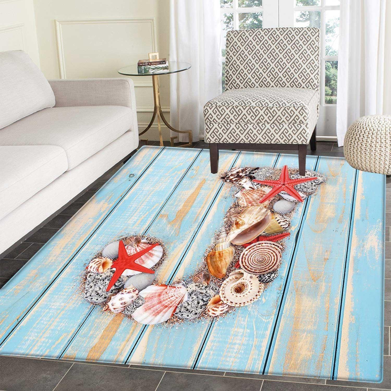 Amazon.com: Letter J Print Area rug Summer Holiday on Tropical Beach ...
