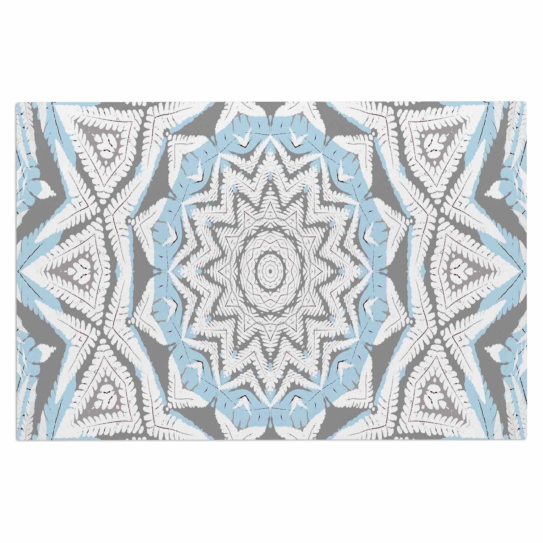 Kess InHouse Alison Coxon Plant House Mandala Blue Beige Digital Decorative Door 2 x 3 Floor Mat