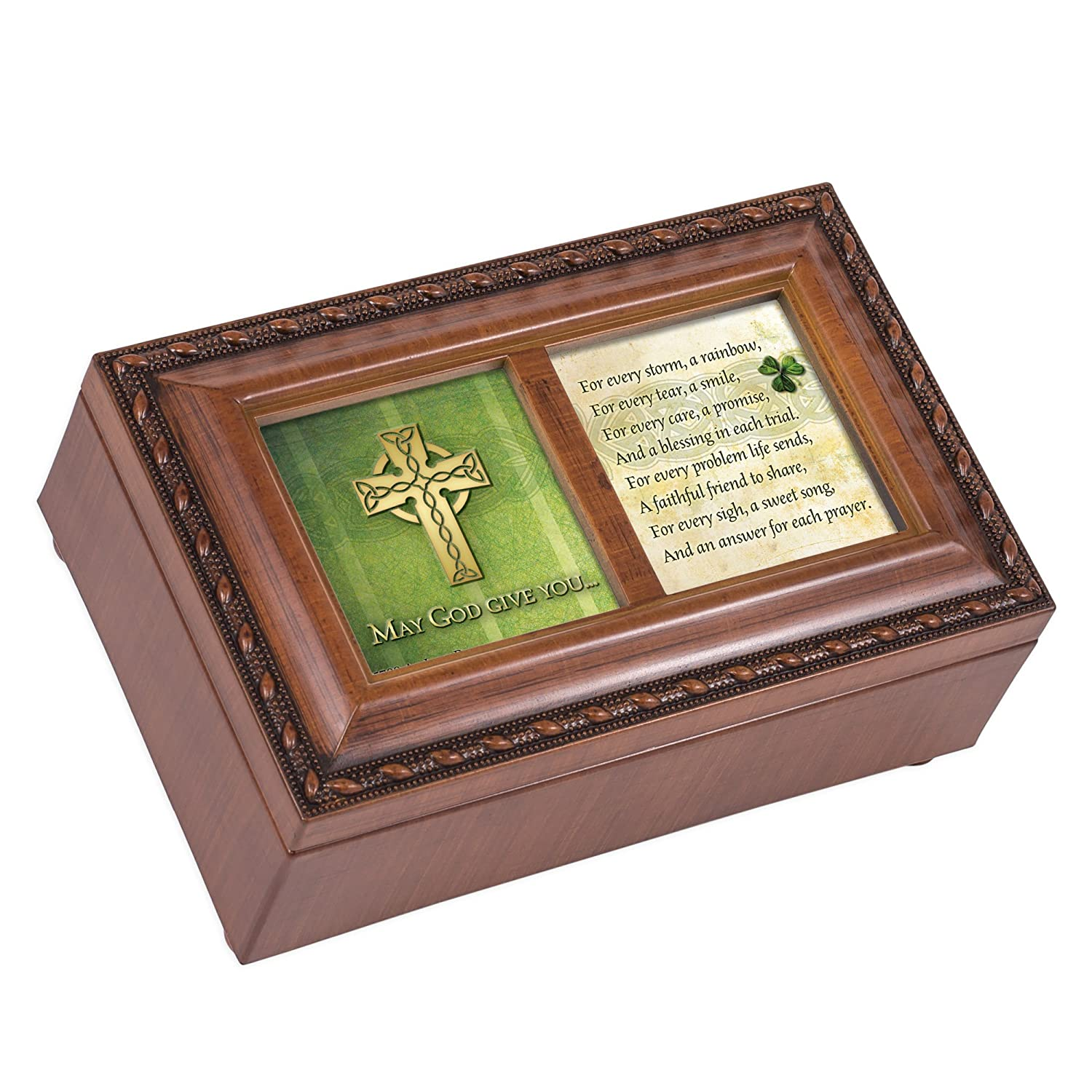 May God Give You Celtic Cross Petite Woodgrain Music Musical Jewelry Box Plays Amazing Grace Cottage Garden PM5700