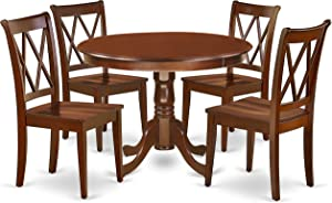 East West Furniture 5PC Round 42 inch Table and 4 Double X back Chairs, Mahogany