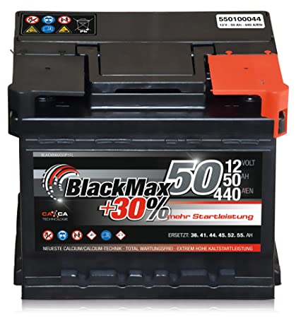 Autobatterie 12v 50 Ah 440 A En Blackmax 30 Ersetzt 36 41 44 45 52