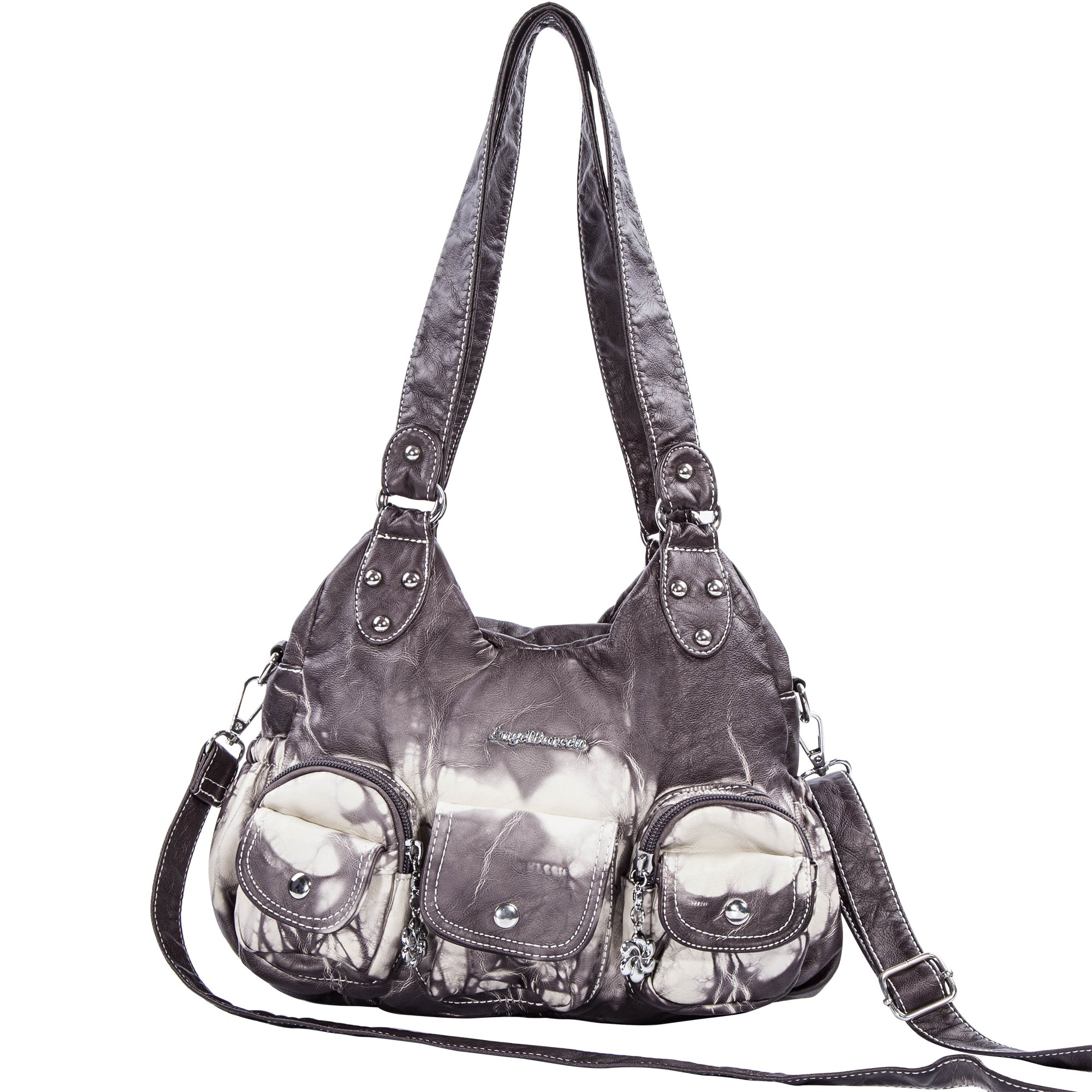 Angelbarcelo Soft Roomy Fashion Hobo Womens Handbags Ladies Purses Satchel Shoulder Bags Tote Washed Leather Bag (XS161497 Gray)