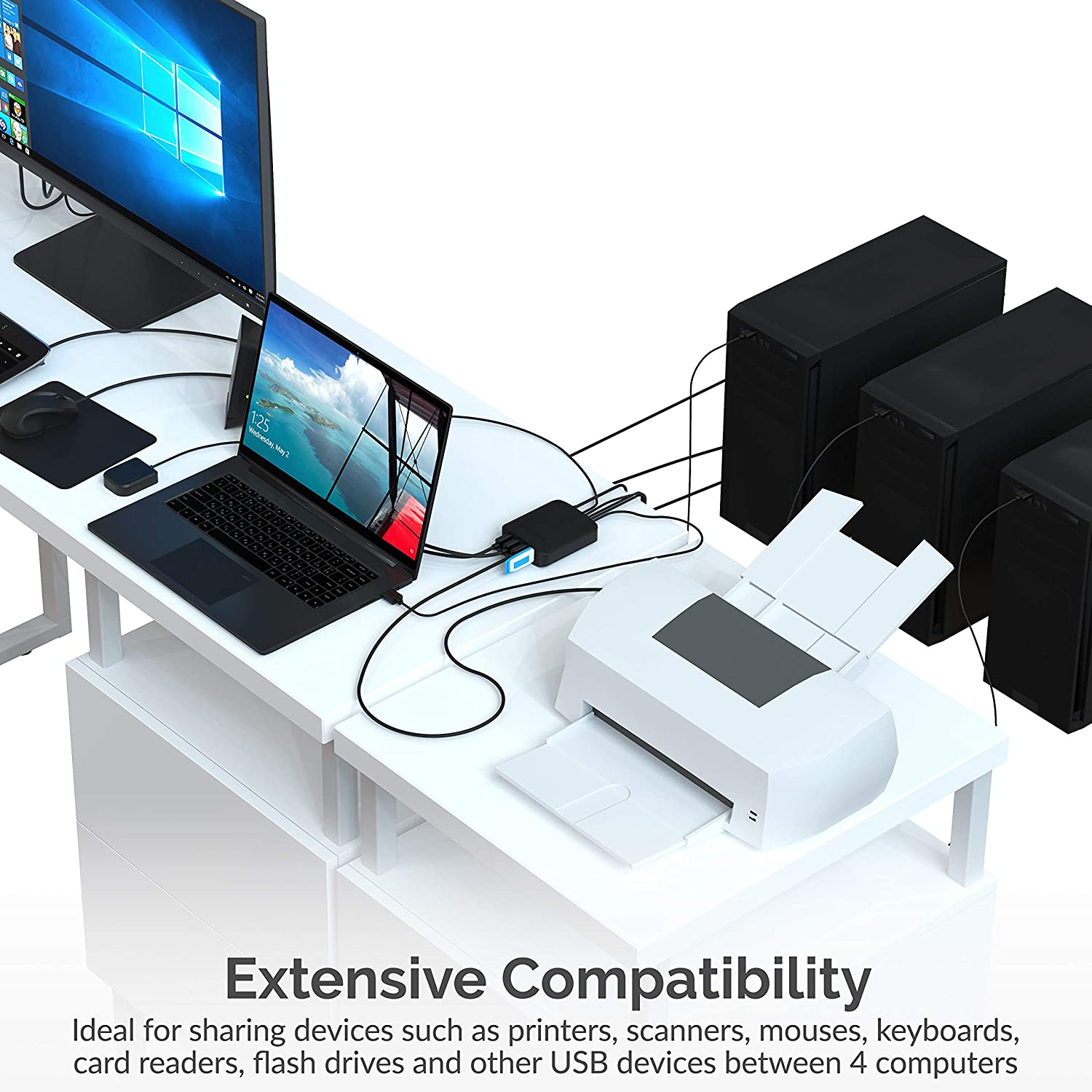 Sabrent USB 2.0 Sharing Switch up to 4 Computers and Peripherals LED Device Indicators USB-USS4