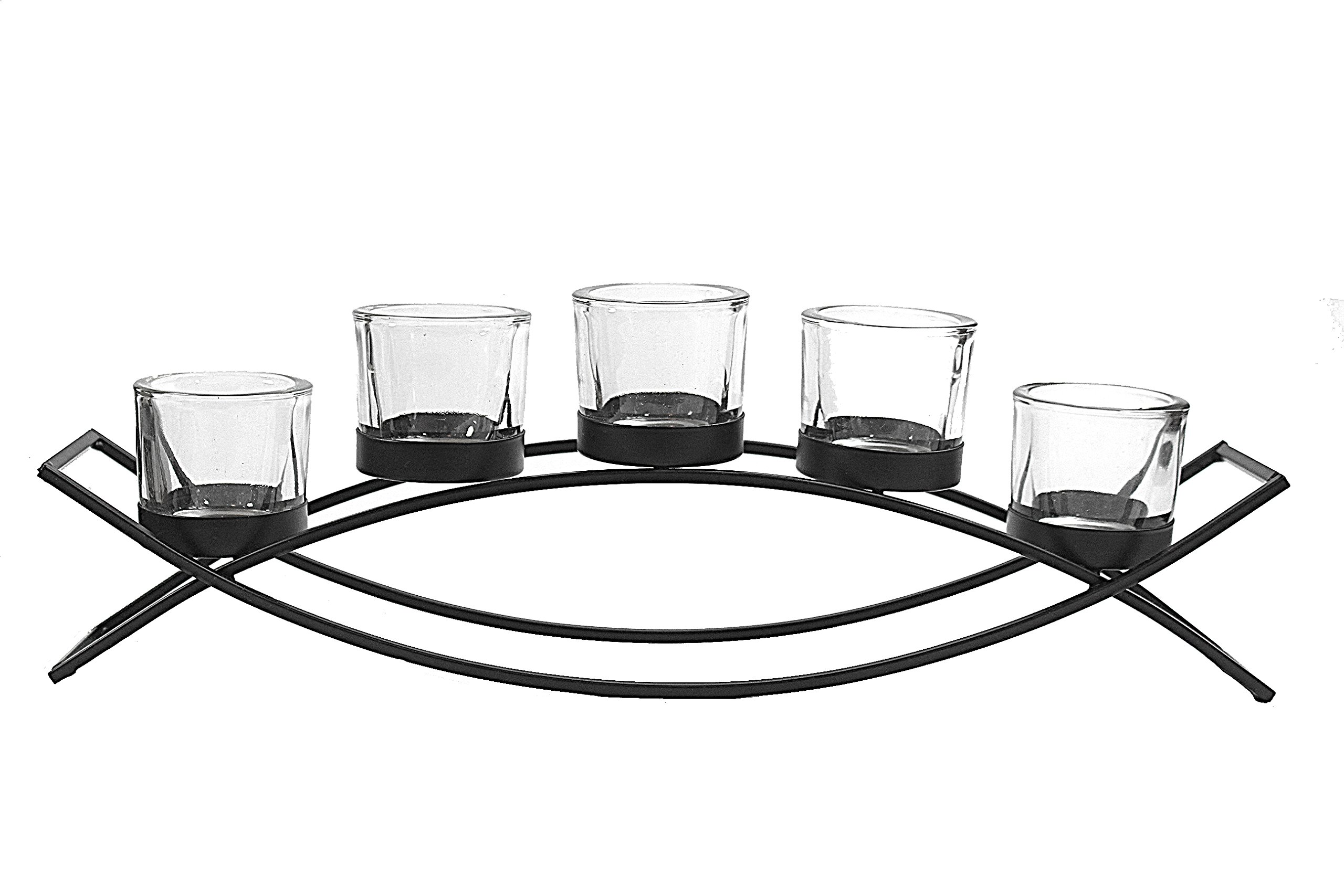 Seraphic 5-Cup Arch Iron Centerpiece Candle Holder