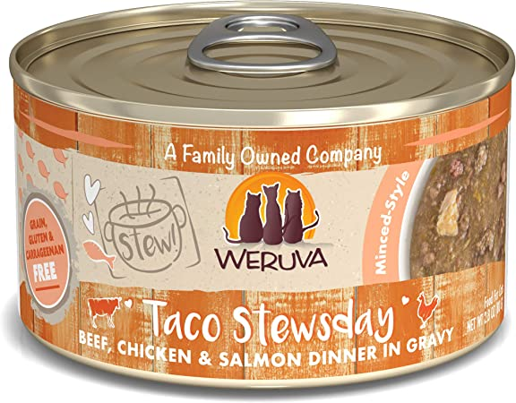 Amazon Com Weruva Classic Cat Stews Taco Stewsday With Beef Chicken Salmon In Gravy 2 8oz Can Pack Of 12 Pet Supplies