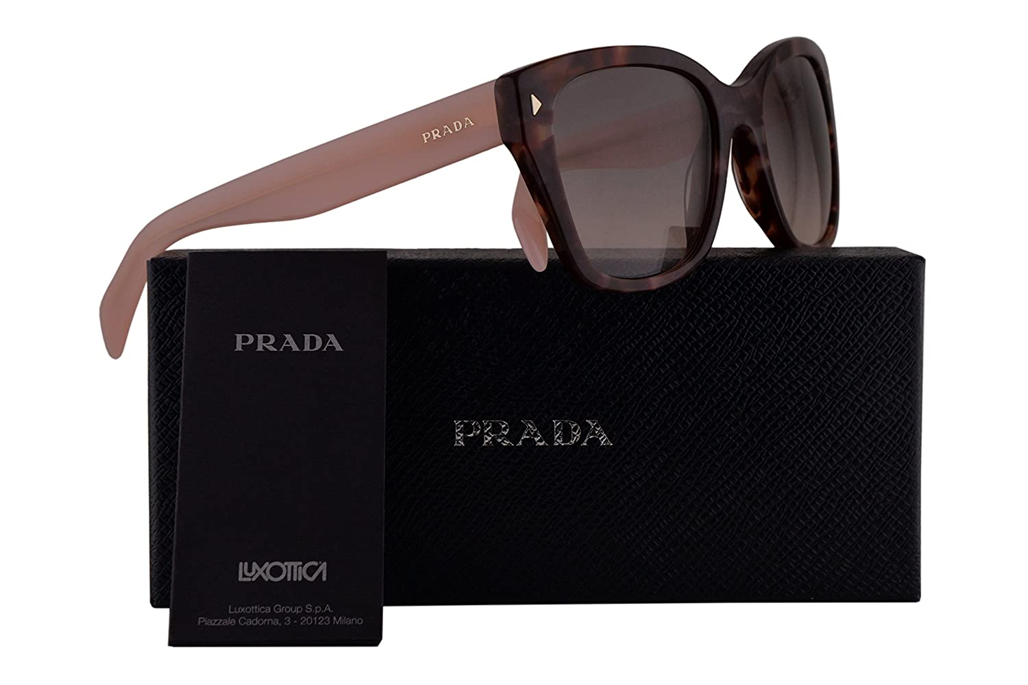 b2a14b682289 Prada Authentic Sunglasses PR09SS Spotted Brown Pink w Pink Grey Gradient  Lens UE04K0 SPR09S (54mm)  Amazon.co.uk  Clothing