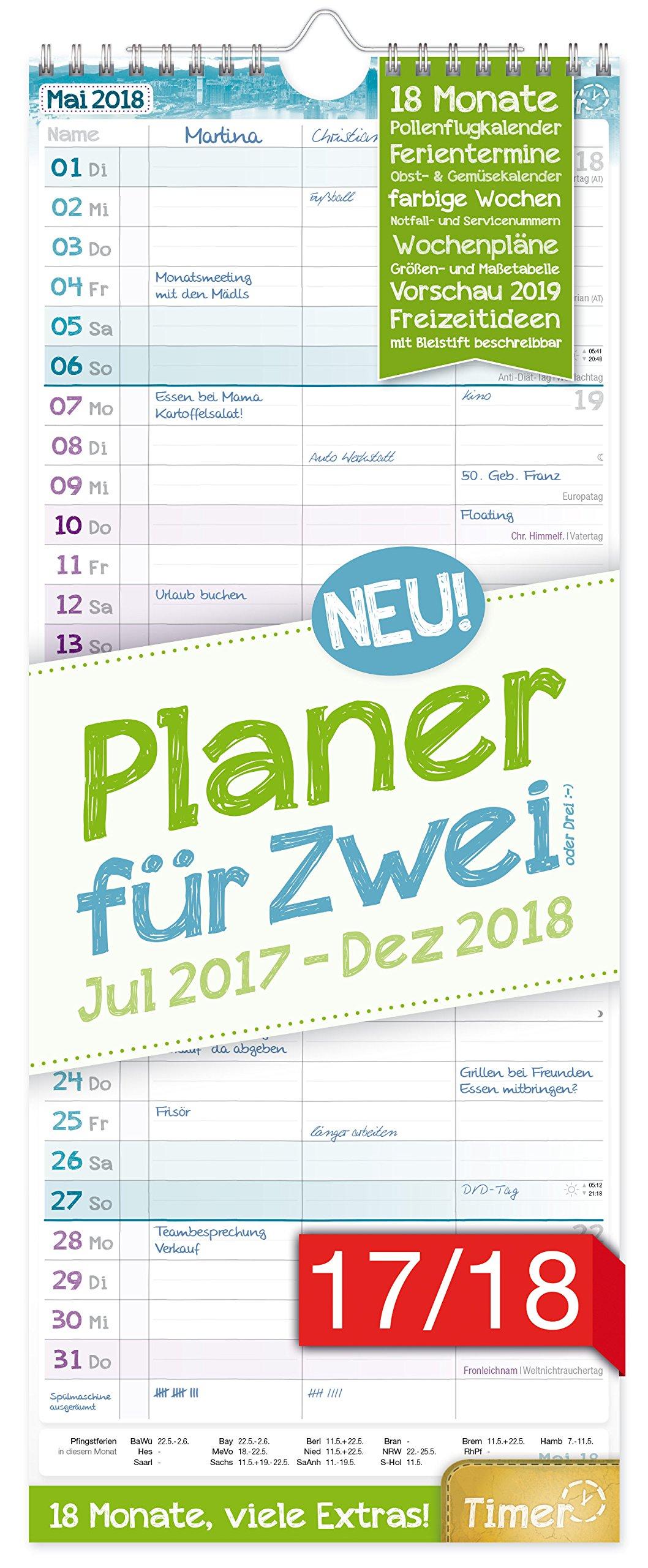 Planer für Zwei 2017/2018 17x42cm, 3 Spalten, Wandkalender 18 Monate Juli 2017-Dezember 2018 - Wandplaner Chäff-Timer, Ferientermine, viele Zusatzinfos