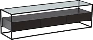 Amazon Brand – Rivet King Street Industrial TV Media Console Table with Three Drawers, Black Metal and Wood, Glass