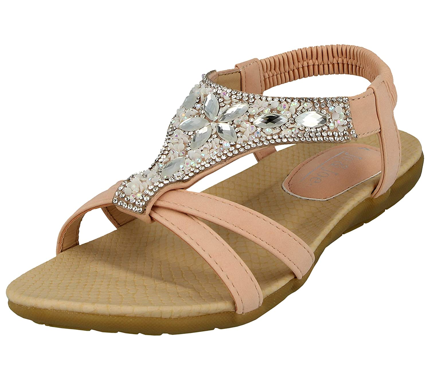 eb2d7c5bedd1d Jo & Joe Ladies Faux Leather Open Toe Sling Back T-Bar Diamante Gem Stone  Flat Gladiator Summer Sandals Size 3-8: Amazon.co.uk: Shoes & Bags