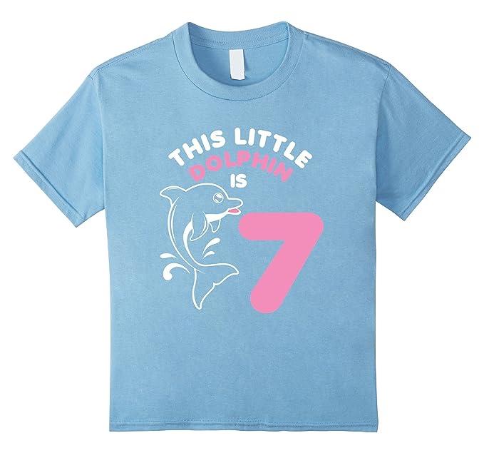 Kids 7th Birthday Girls Dolphin T Shirt Cute 7 Year Old 4 Baby Blue