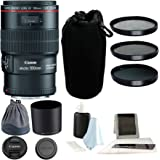 Canon EF 100mm F/2.8L IS USM Macro Lens w/ 3-Piece 67mm Fliter Kit Bundle