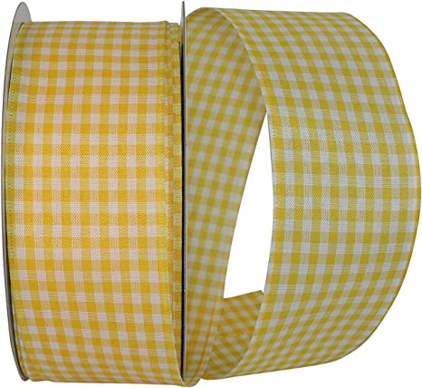 "5 Yds Yellow Black White Tartan Plaid Taffeta Ribbon 7//8/""W"