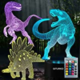 3D Dinosaur Night Light - Led Dinosaur Illusion Lamp Three Pattern and 16 Color Change Decor Lamp with Remote Control for Kids, Dinosaur Gifts for Kids