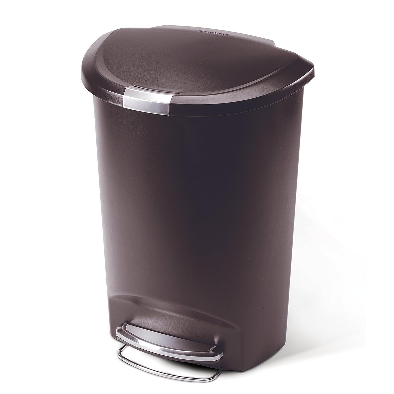 simplehuman semi round step trash can mocha plastic