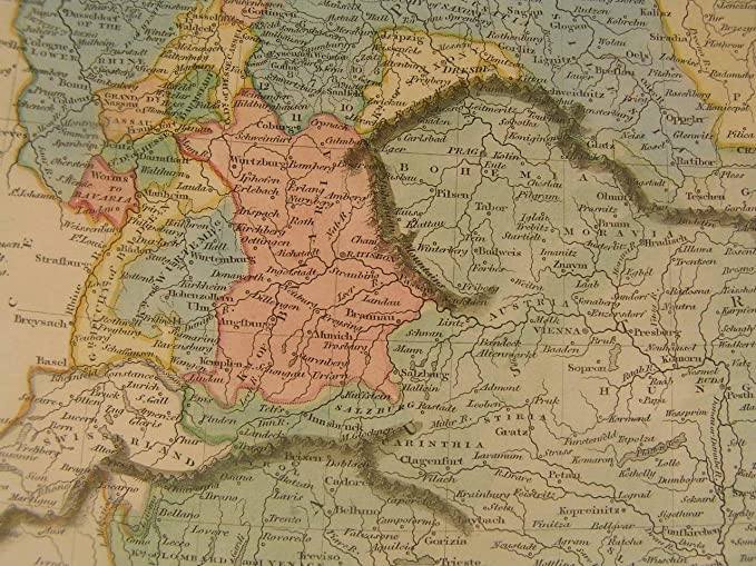 Amazon.com: Germany 1820s by Thomson pleasing old vintage antique hand colored map: Entertainment Collectibles