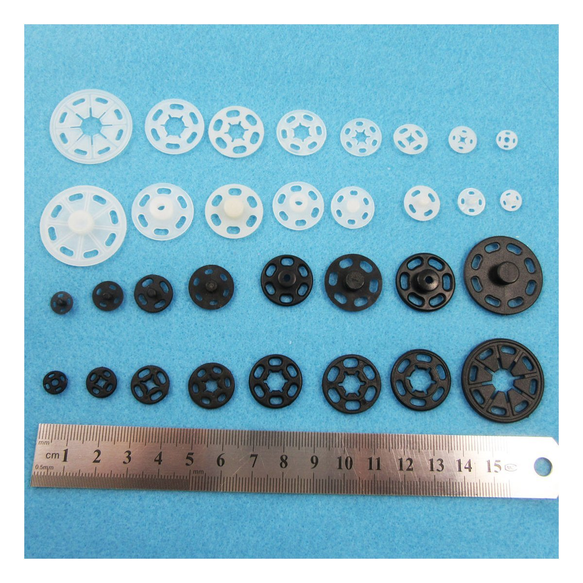 BLACK OR WHITE SEW ON SNAP FASTENERS POPPER PRESS STUDS 8 SIZES (8mm (25 sets) H2349, Black) BEADS4CRAFTS