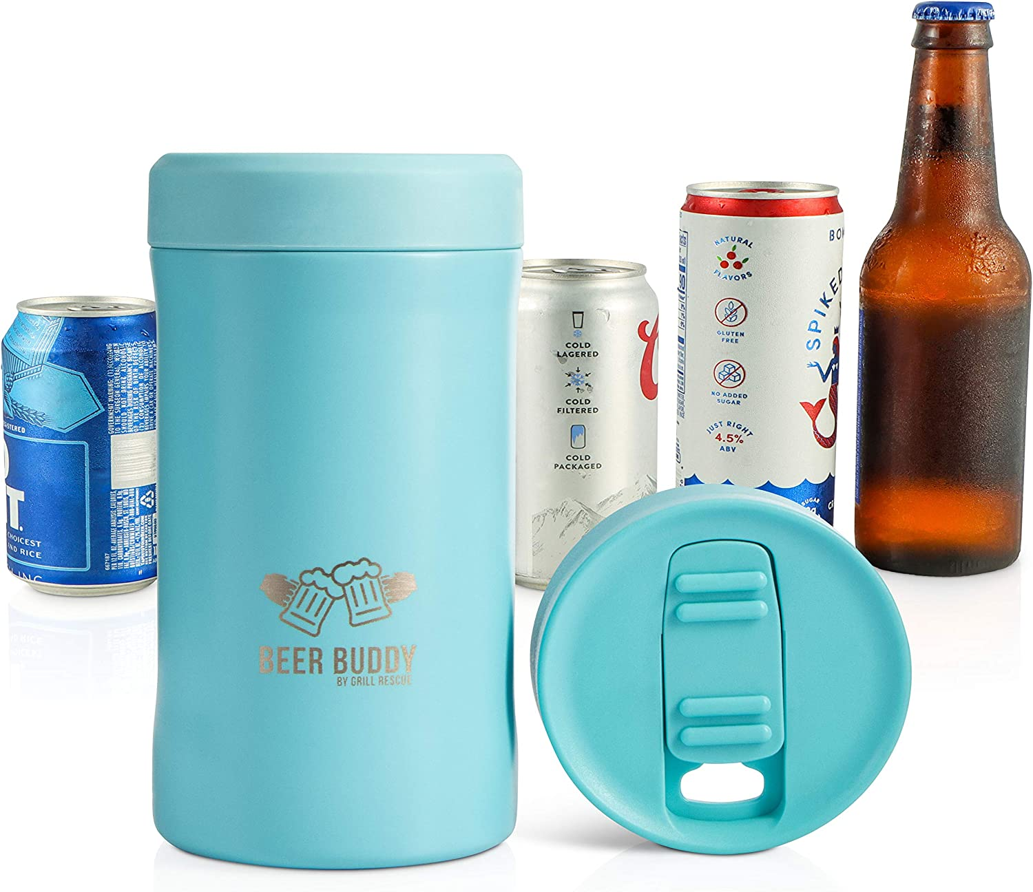 Beer Buddy? Insulated Can Holder – Vacuum-Sealed Stainless Steel – Beer Bottle Insulator for Cold Beverages – Thermos Beer Cooler ?Suited for Any Size? Drink - One Size Fits All (Matte Turquoise)